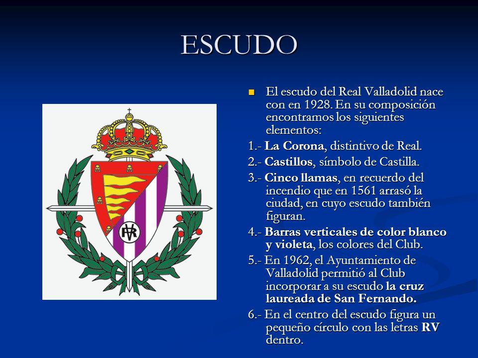 ESCUDO El escudo del Real Valladolid nace con en 1928. En su composición encontramos los siguientes elementos: