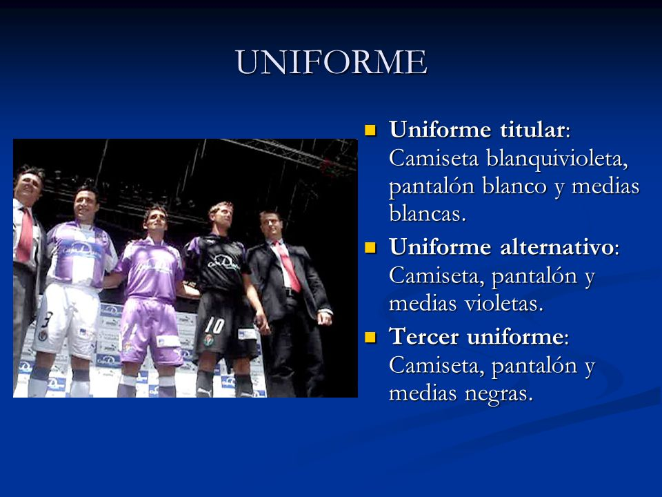 UNIFORME Uniforme titular: Camiseta blanquivioleta, pantalón blanco y medias blancas. Uniforme alternativo: Camiseta, pantalón y medias violetas.