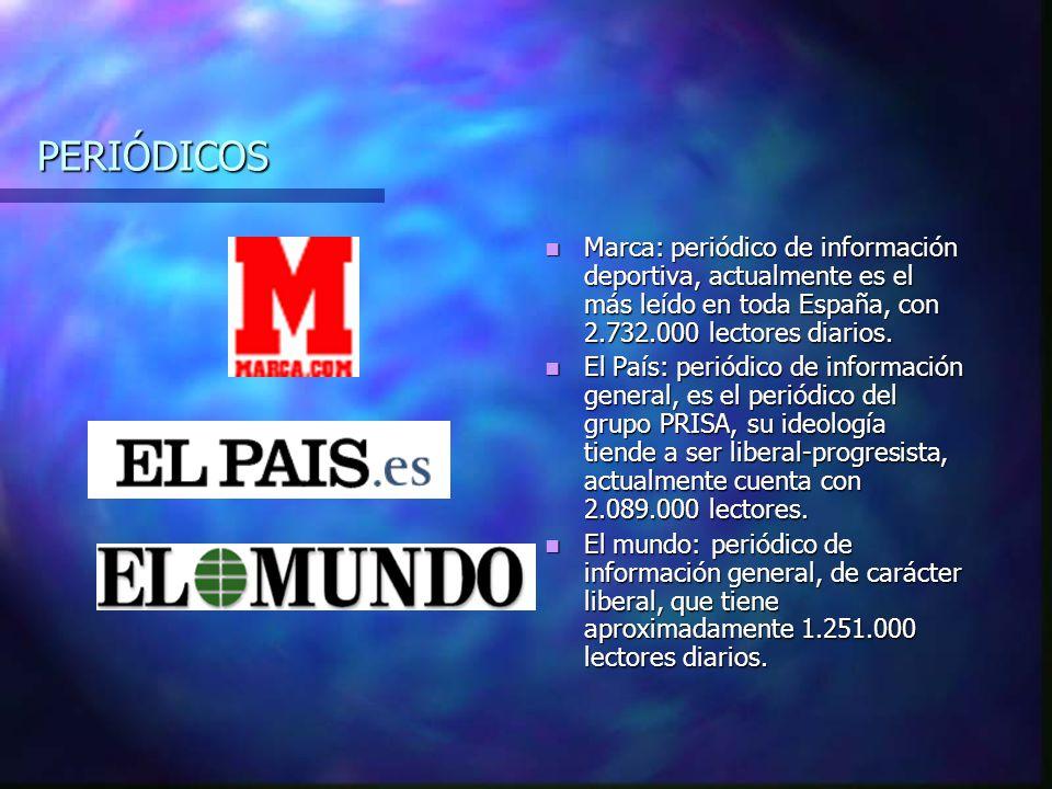 PERIÓDICOS Marca: periódico de información deportiva, actualmente es el más leído en toda España, con 2.732.000 lectores diarios.