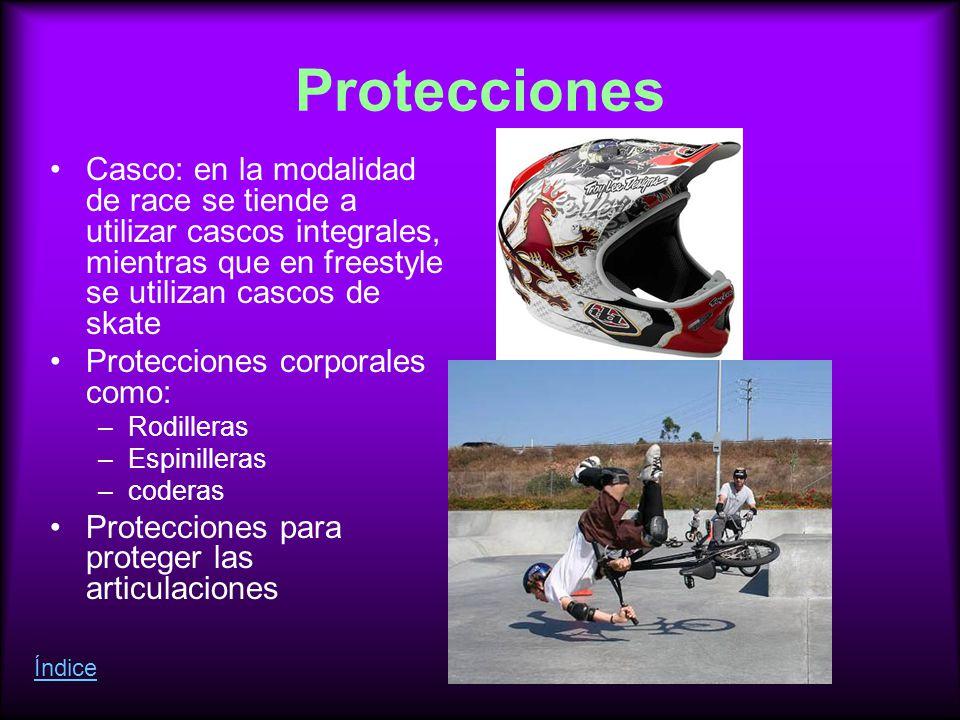 Protecciones Casco: en la modalidad de race se tiende a utilizar cascos integrales, mientras que en freestyle se utilizan cascos de skate.