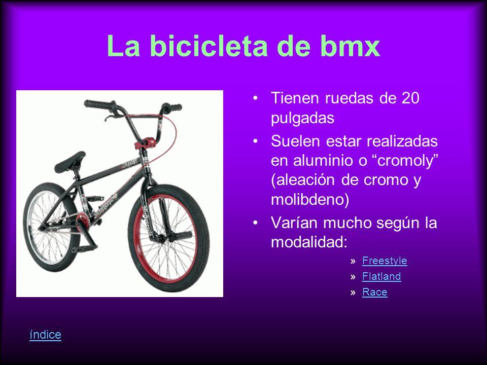La bicicleta de bmx Tienen ruedas de 20 pulgadas