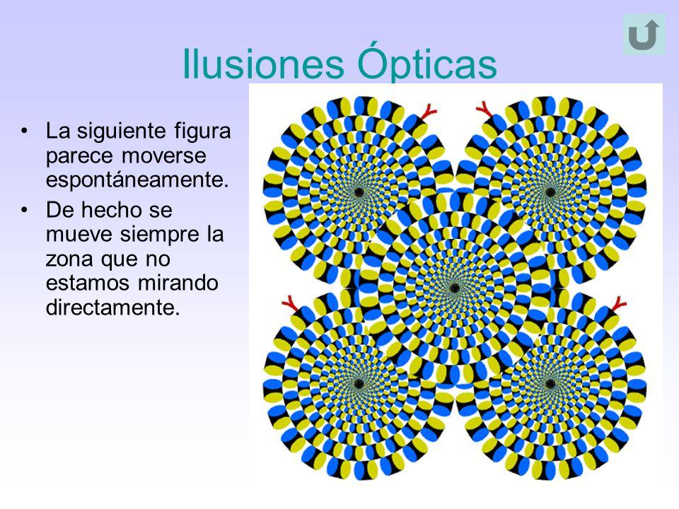 Ilusiones Ópticas La siguiente figura parece moverse espontáneamente.