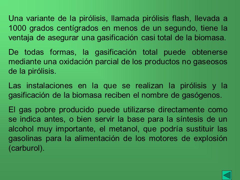 Una variante de la pirólisis, llamada pirólisis flash, llevada a 1000 grados centígrados en menos de un segundo, tiene la ventaja de asegurar una gasificación casi total de la biomasa.