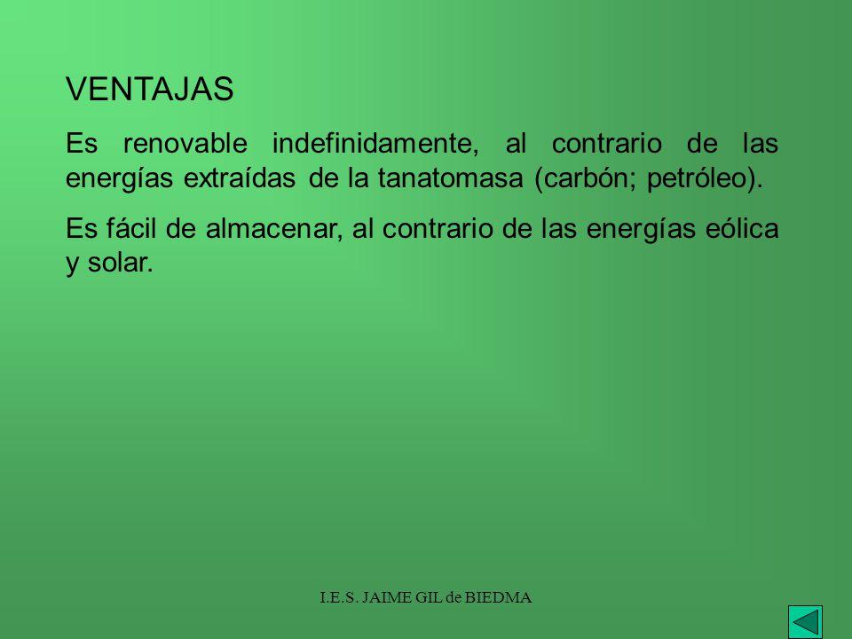 VENTAJAS Es renovable indefinidamente, al contrario de las energías extraídas de la tanatomasa (carbón; petróleo).