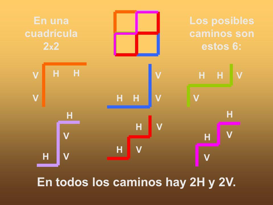 Los posibles caminos son estos 6: En todos los caminos hay 2H y 2V.