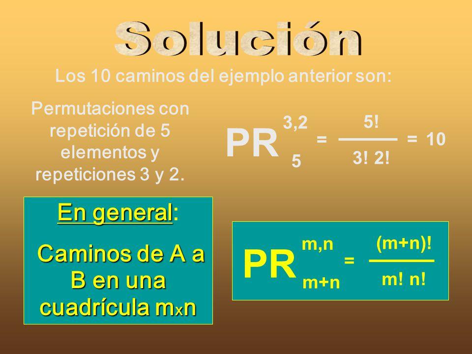 PR PR Solución En general: Caminos de A a B en una cuadrícula mxn