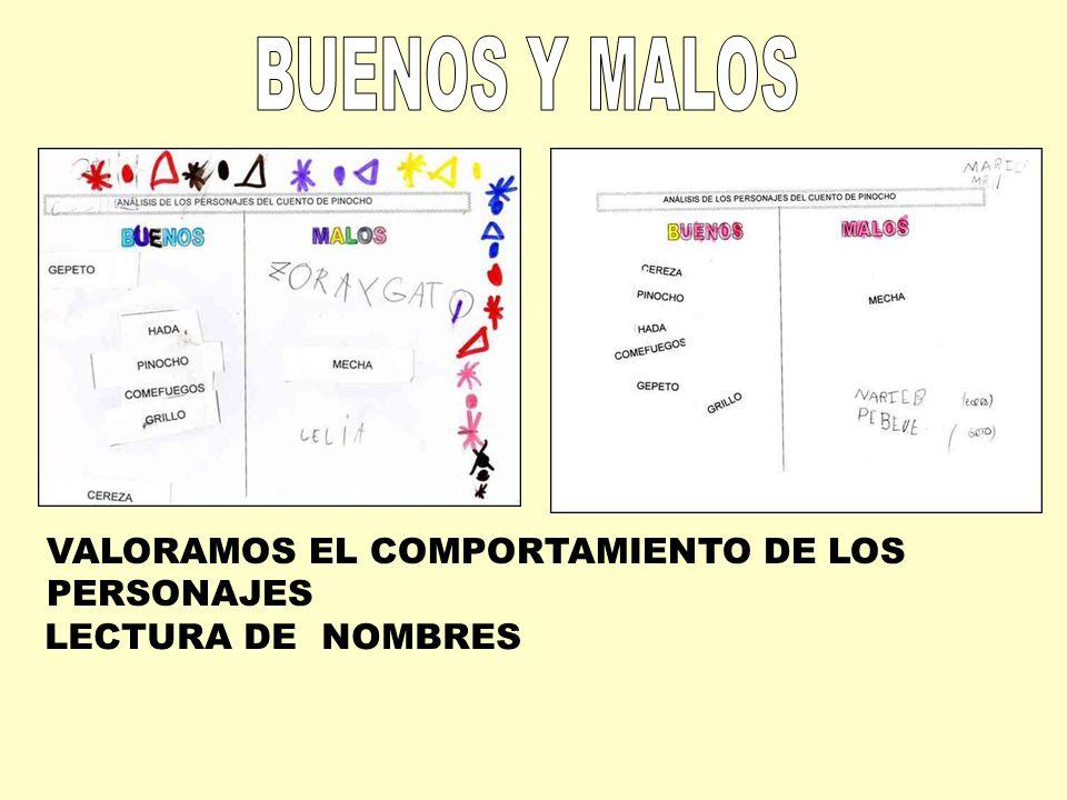 BUENOS Y MALOS VALORAMOS EL COMPORTAMIENTO DE LOS PERSONAJES