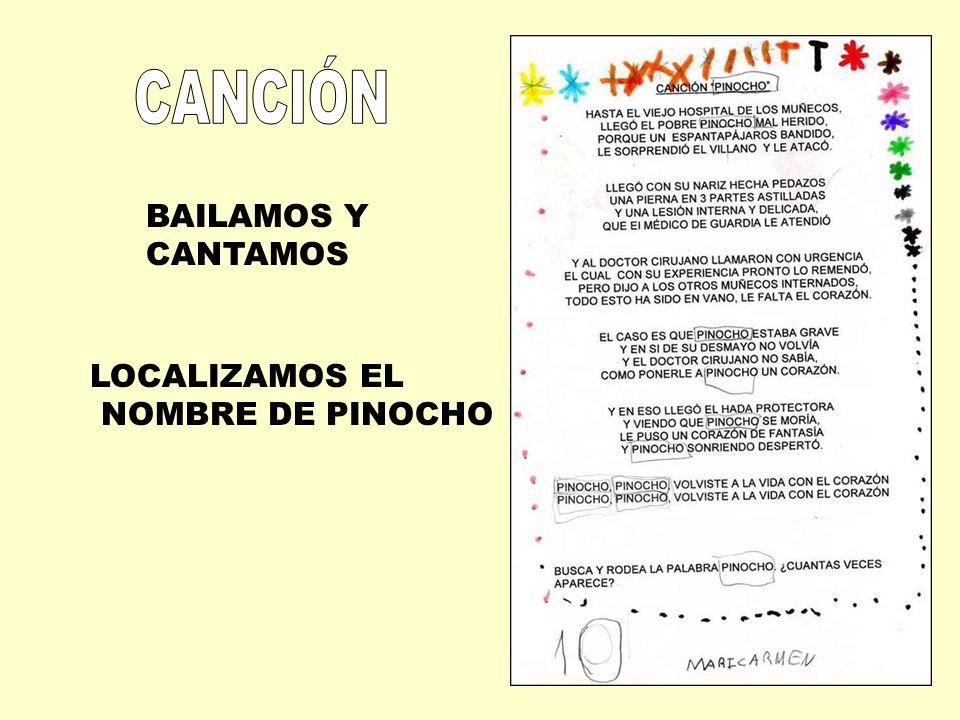 CANCIÓN BAILAMOS Y CANTAMOS LOCALIZAMOS EL NOMBRE DE PINOCHO
