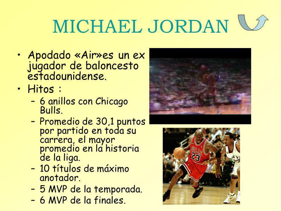 MICHAEL JORDAN Apodado «Air»es un ex jugador de baloncesto estadounidense. Hitos : 6 anillos con Chicago Bulls.
