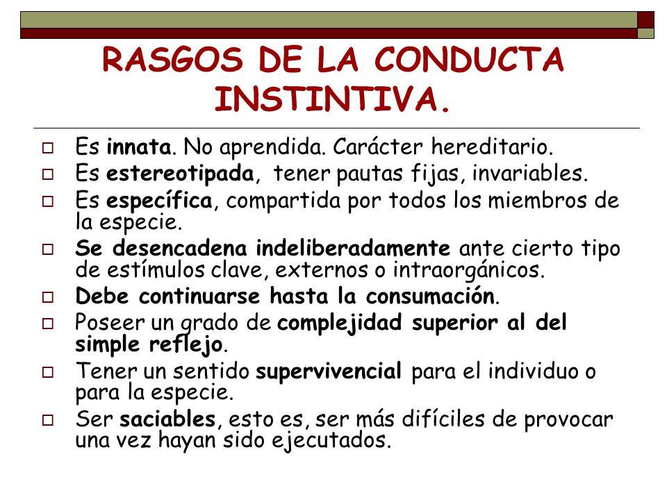 RASGOS DE LA CONDUCTA INSTINTIVA.