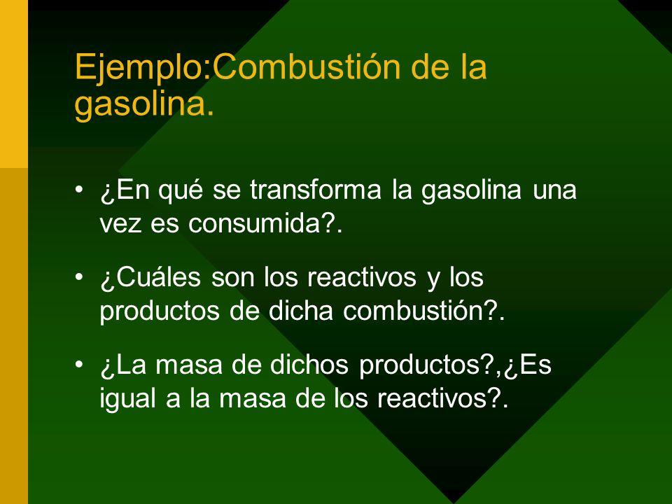 Ejemplo:Combustión de la gasolina.