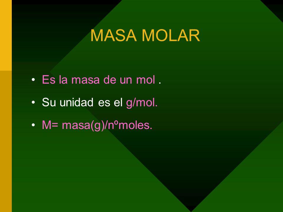 MASA MOLAR Es la masa de un mol . Su unidad es el g/mol.