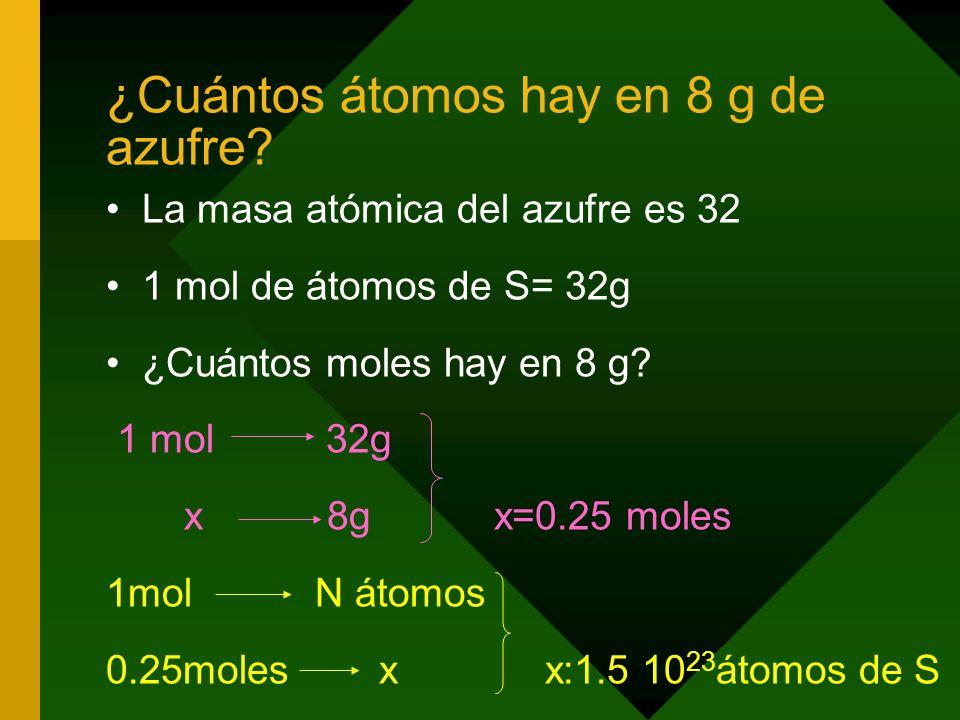 ¿Cuántos átomos hay en 8 g de azufre
