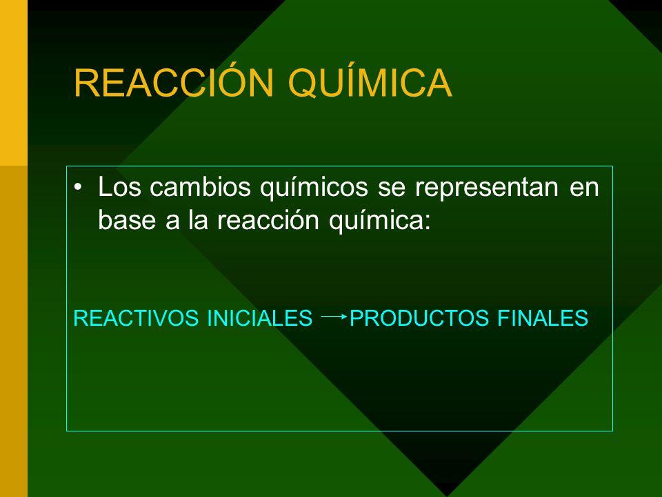 REACCIÓN QUÍMICA Los cambios químicos se representan en base a la reacción química: REACTIVOS INICIALES PRODUCTOS FINALES.