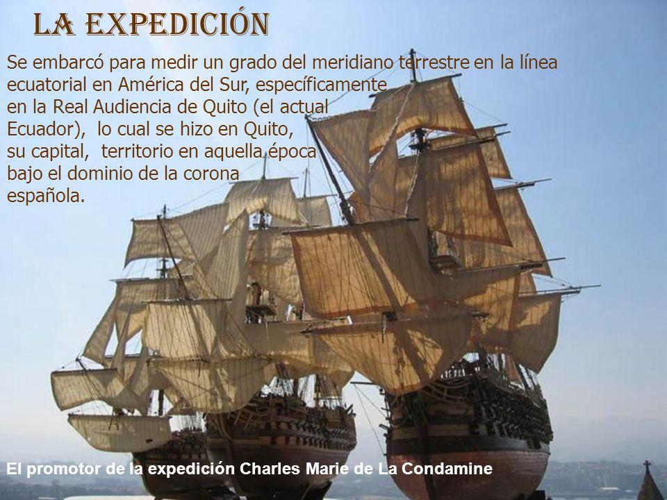 La Expedición Se embarcó para medir un grado del meridiano terrestre en la línea ecuatorial en América del Sur, específicamente.