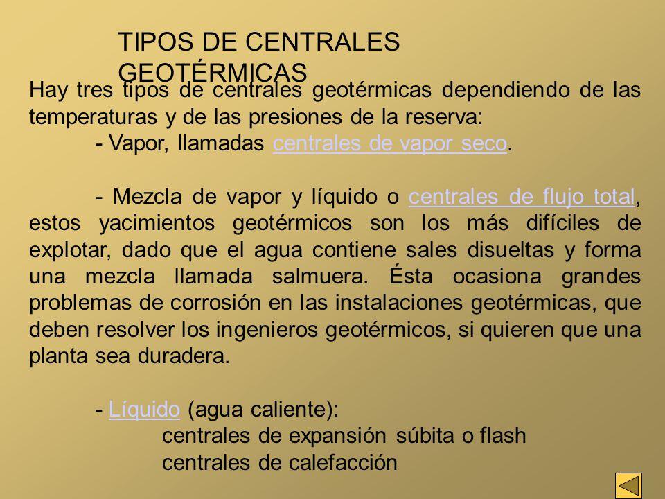 TIPOS DE CENTRALES GEOTÉRMICAS