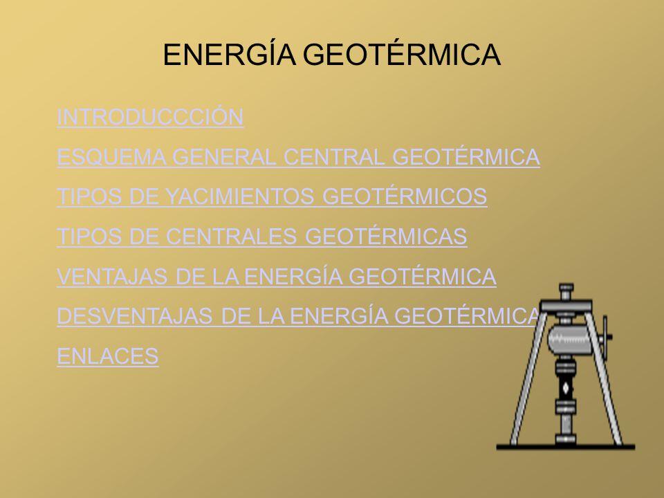 ENERGÍA GEOTÉRMICA INTRODUCCCIÓN ESQUEMA GENERAL CENTRAL GEOTÉRMICA