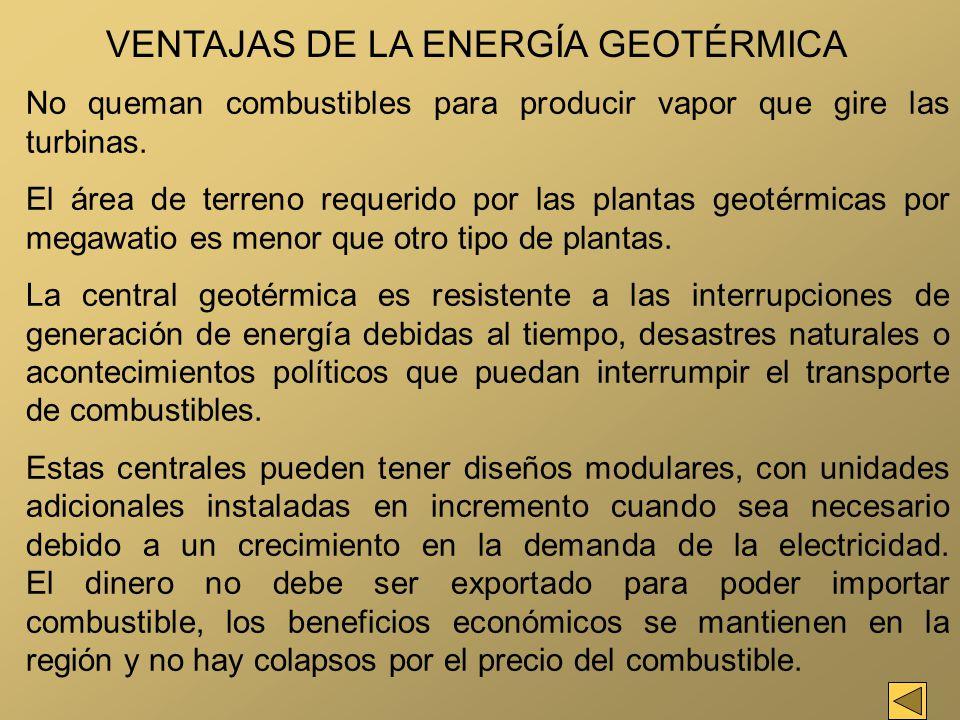 VENTAJAS DE LA ENERGÍA GEOTÉRMICA