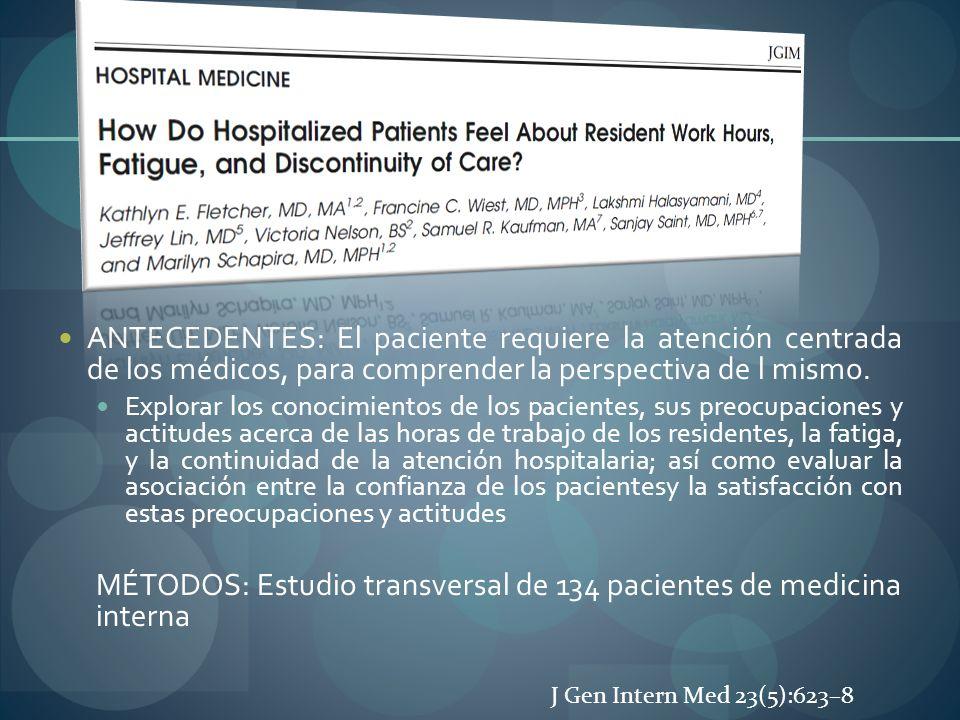 MÉTODOS: Estudio transversal de 134 pacientes de medicina interna
