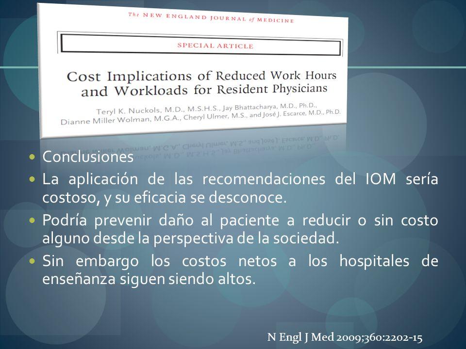 Conclusiones La aplicación de las recomendaciones del IOM sería costoso, y su eficacia se desconoce.