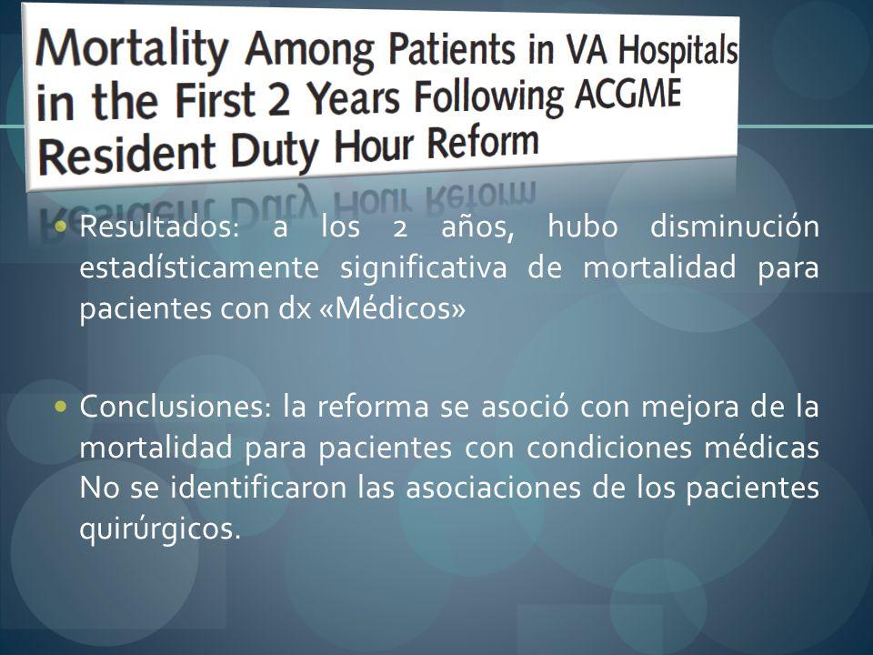 Resultados: a los 2 años, hubo disminución estadísticamente significativa de mortalidad para pacientes con dx «Médicos»