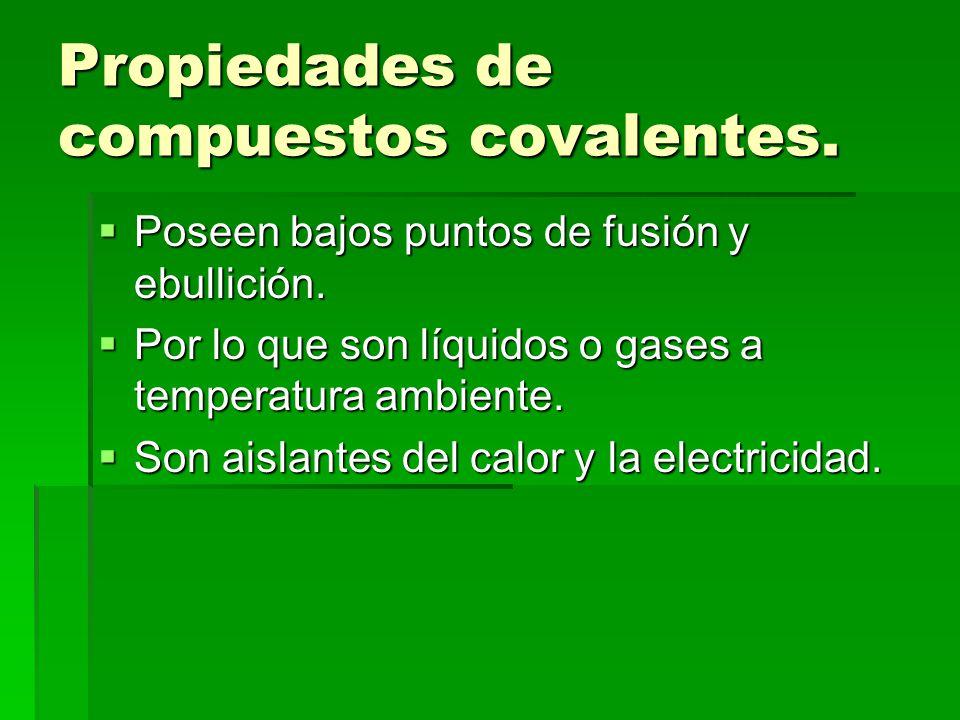 Propiedades de compuestos covalentes.