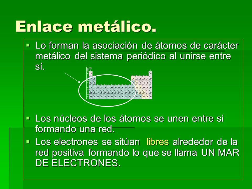 Enlace metálico. Lo forman la asociación de átomos de carácter metálico del sistema periódico al unirse entre sí.