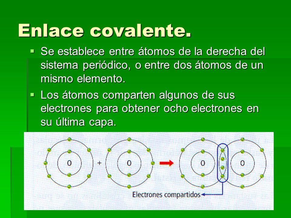 Enlace covalente. Se establece entre átomos de la derecha del sistema periódico, o entre dos átomos de un mismo elemento.