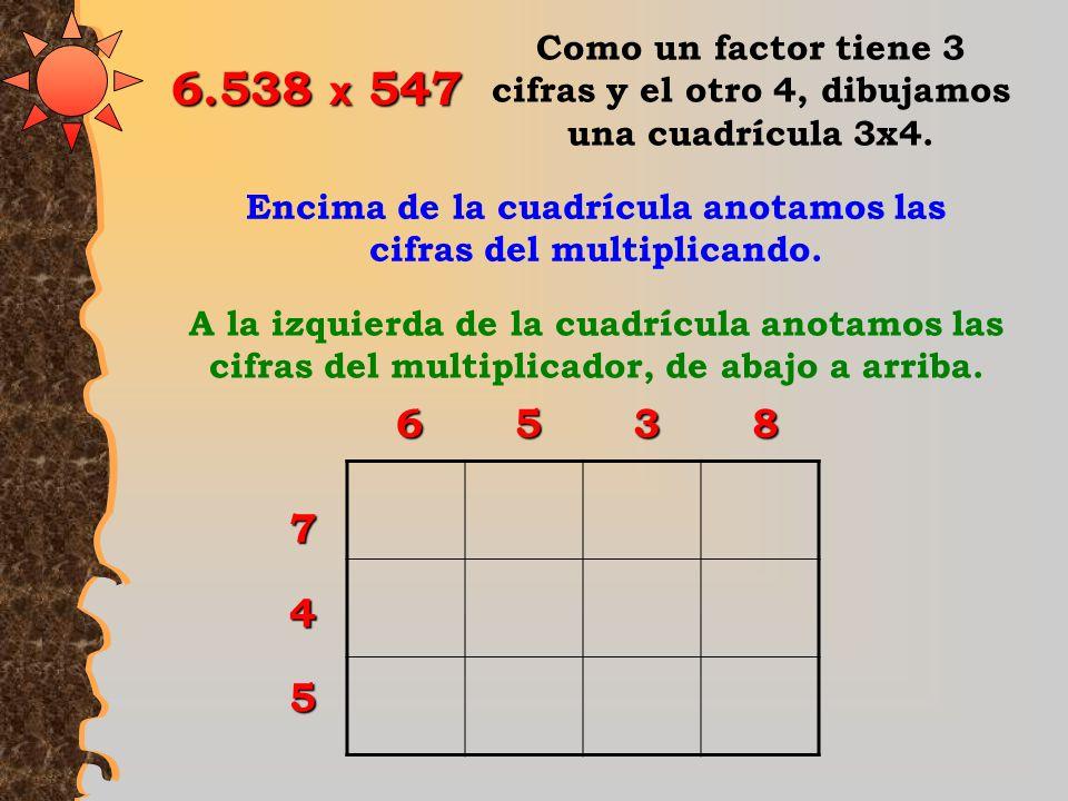 Encima de la cuadrícula anotamos las cifras del multiplicando.