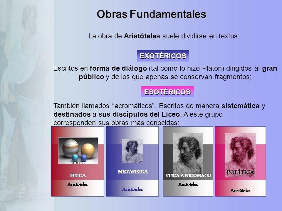 Obras Fundamentales La obra de Aristóteles suele dividirse en textos: