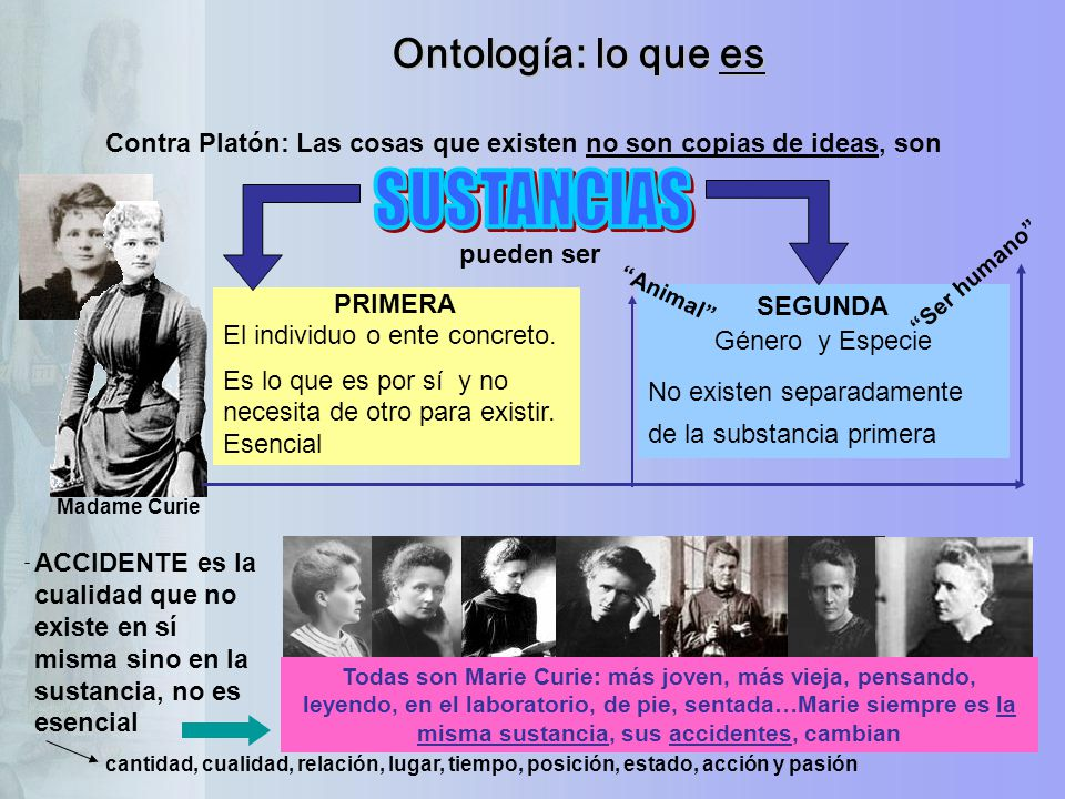 SUSTANCIAS Ontología: lo que es