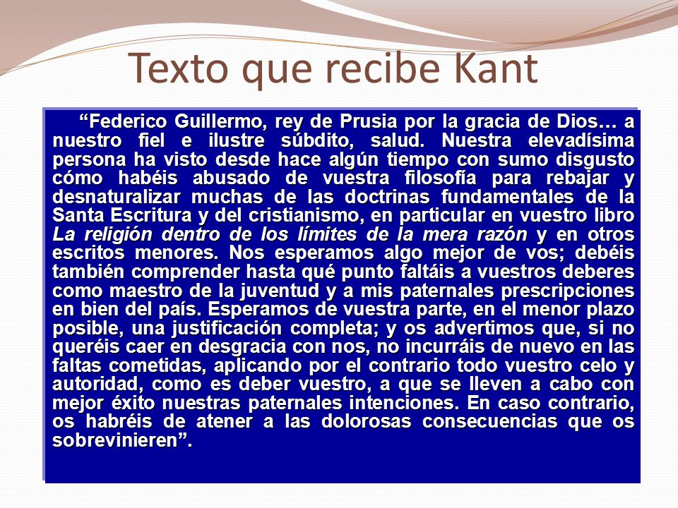 Texto que recibe Kant
