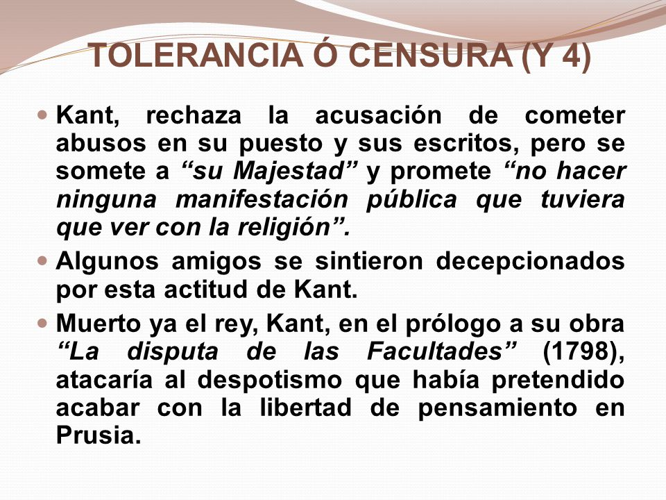 TOLERANCIA Ó CENSURA (Y 4)