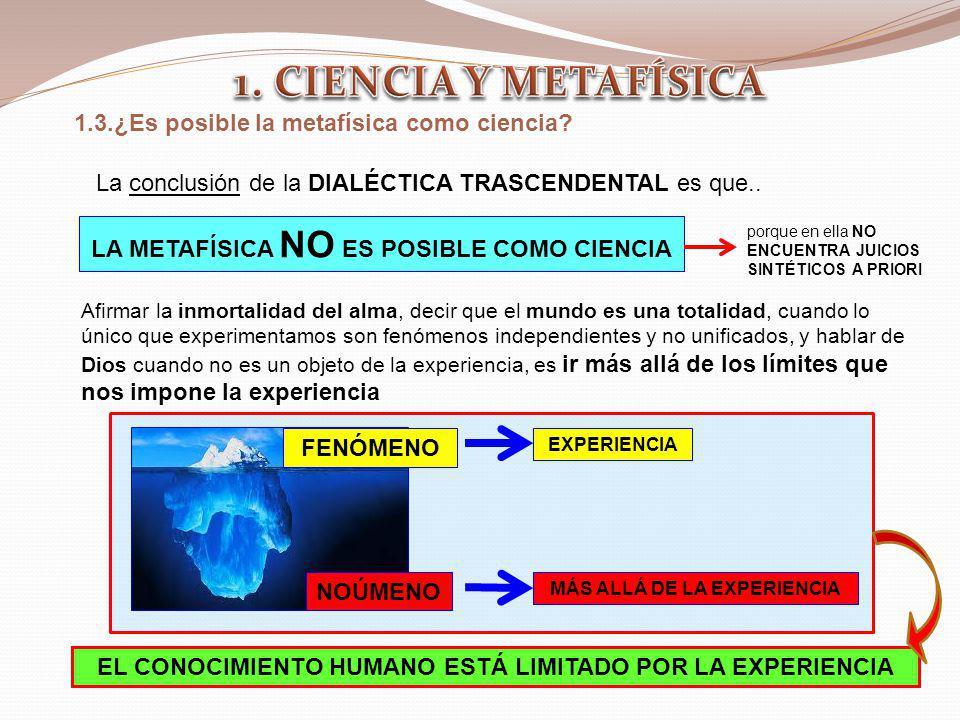 LA METAFÍSICA NO ES POSIBLE COMO CIENCIA