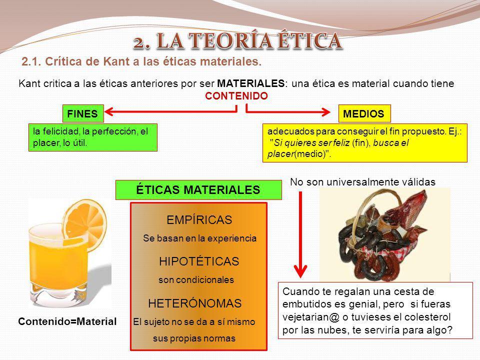 2. LA TEORÍA ÉTICA 2.1. Crítica de Kant a las éticas materiales.
