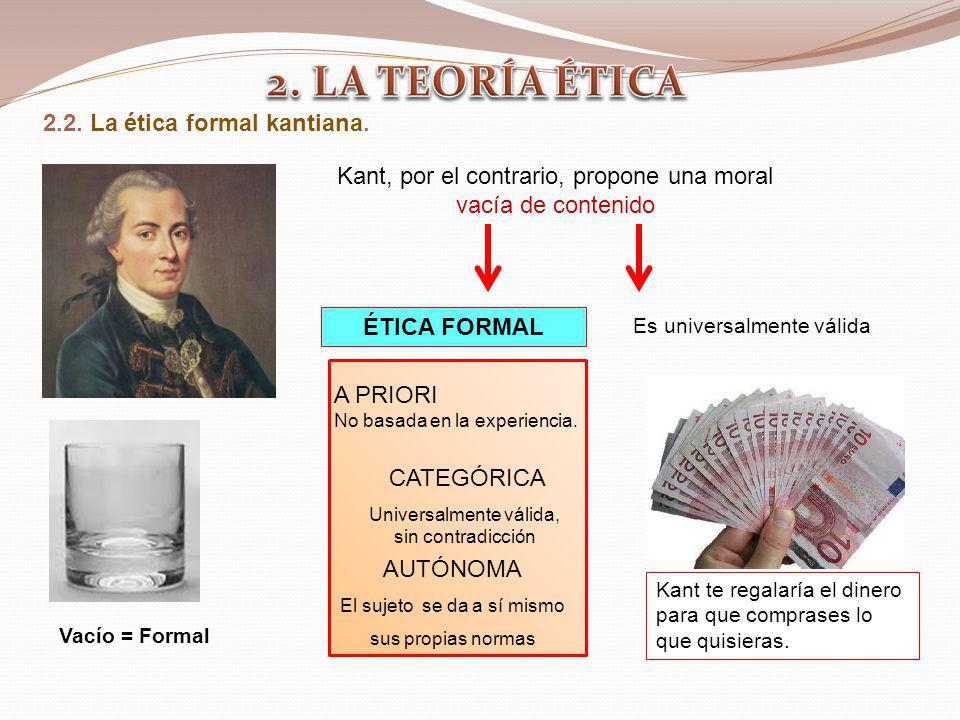 2. LA TEORÍA ÉTICA 2.2. La ética formal kantiana.