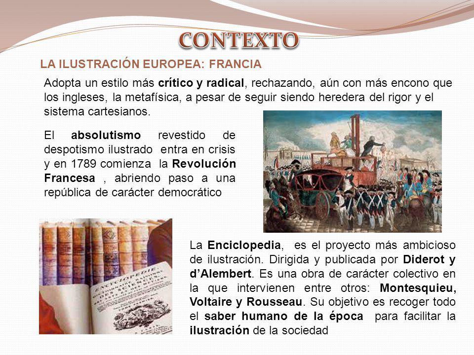 CONTEXTO LA ILUSTRACIÓN EUROPEA: FRANCIA