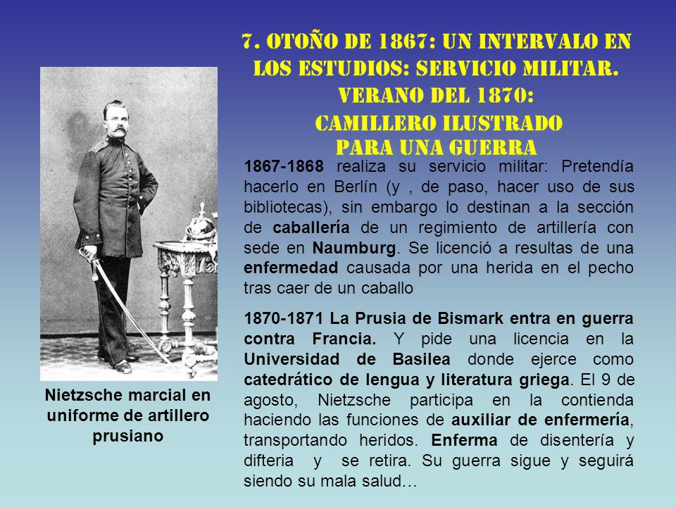 Nietzsche marcial en uniforme de artillero prusiano