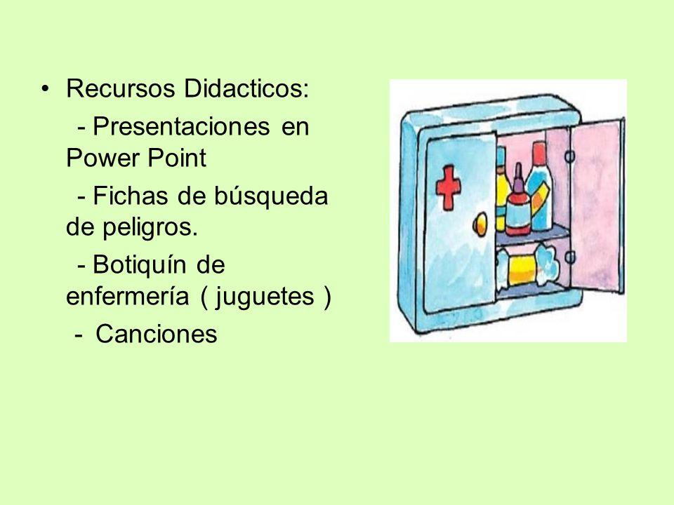 Recursos Didacticos: - Presentaciones en Power Point. - Fichas de búsqueda de peligros. - Botiquín de enfermería ( juguetes )