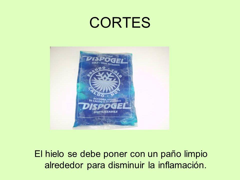 CORTES El hielo se debe poner con un paño limpio alrededor para disminuir la inflamación.