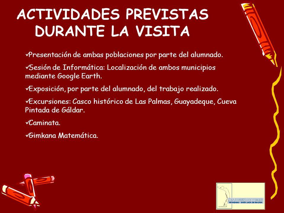 ACTIVIDADES PREVISTAS DURANTE LA VISITA