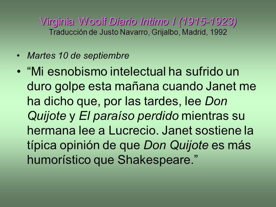 Virginia Woolf Diario Intimo I (1915-1923) Traducción de Justo Navarro, Grijalbo, Madrid, 1992