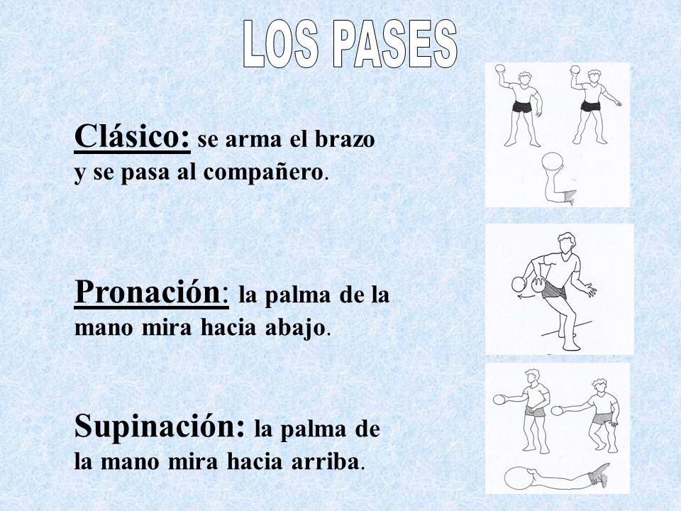 LOS PASES Clásico: se arma el brazo y se pasa al compañero. Pronación: la palma de la mano mira hacia abajo.