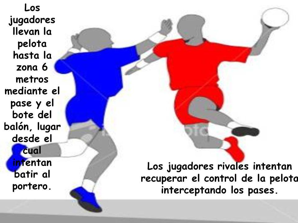 Los jugadores llevan la pelota hasta la zona 6 metros mediante el pase y el bote del balón, lugar desde el cual intentan batir al portero.