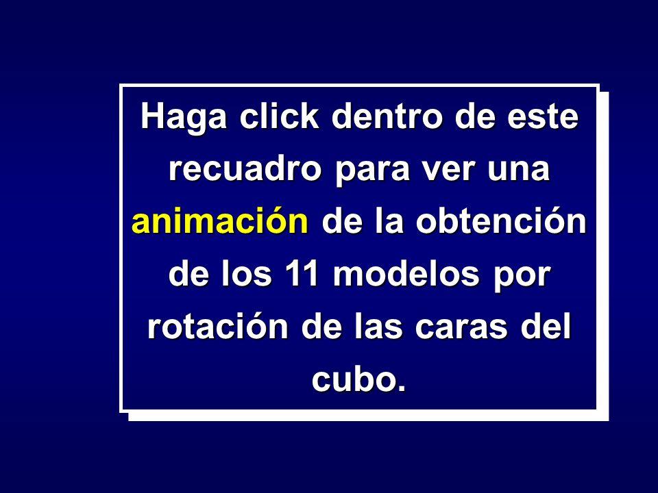 Haga click dentro de este recuadro para ver una animación de la obtención de los 11 modelos por rotación de las caras del cubo.