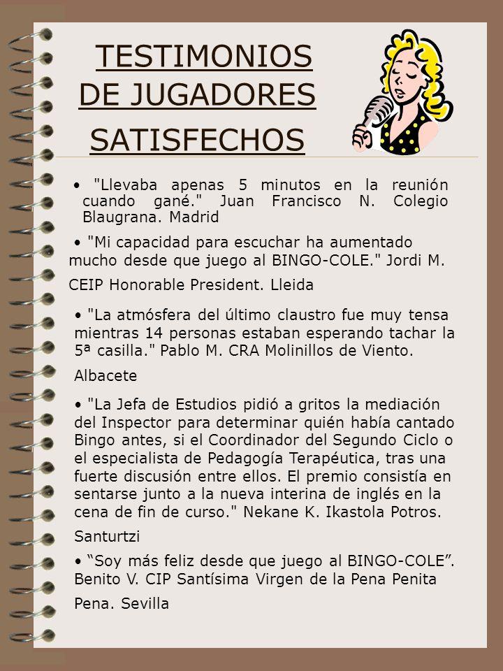 TESTIMONIOS DE JUGADORES SATISFECHOS