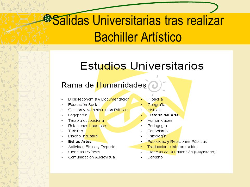 Salidas Universitarias tras realizar Bachiller Artístico