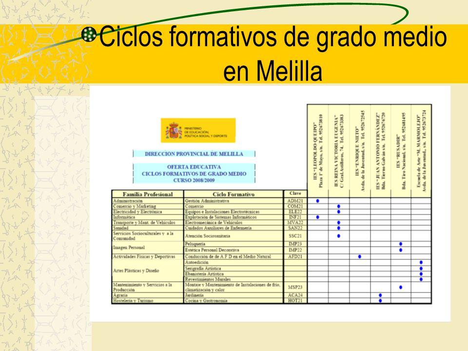 Ciclos formativos de grado medio en Melilla