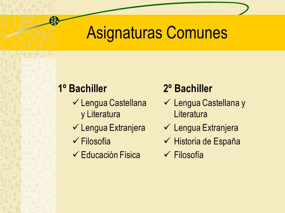 Asignaturas Comunes 1º Bachiller 2º Bachiller
