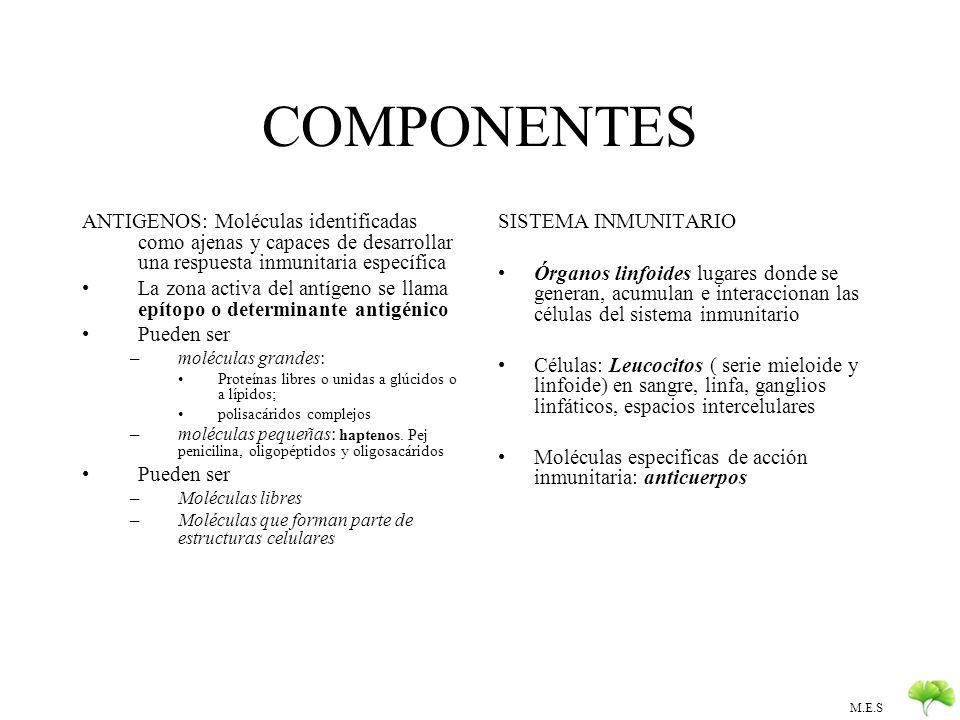 COMPONENTES ANTIGENOS: Moléculas identificadas como ajenas y capaces de desarrollar una respuesta inmunitaria específica.